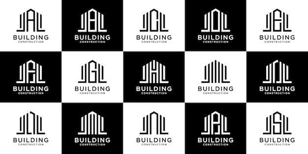 Colección de logotipo de construcción del alfabeto de letras tempranas con conceptos lineales y de bienes raíces