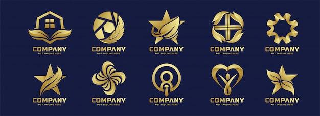 Colección de logotipo dorado abstracto de negocios