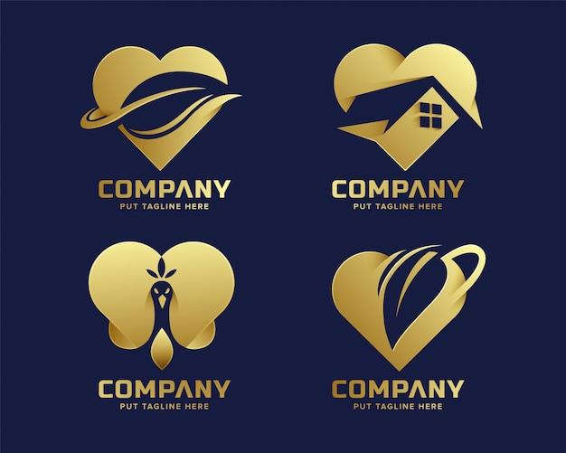 Colección de logotipo dorado de lujo de corazón de lujo premium