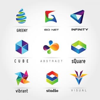 Colección de logotipo empresarial colorido abstracto