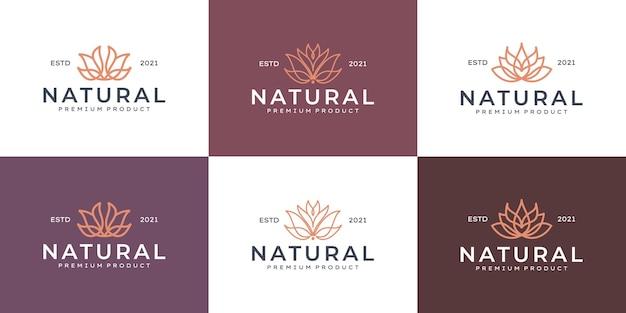 Colección de logotipo de flor de belleza de arte de línea de lujo