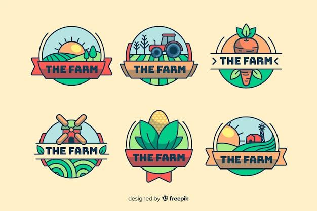 Colección de logotipo de granja de estilo plano.