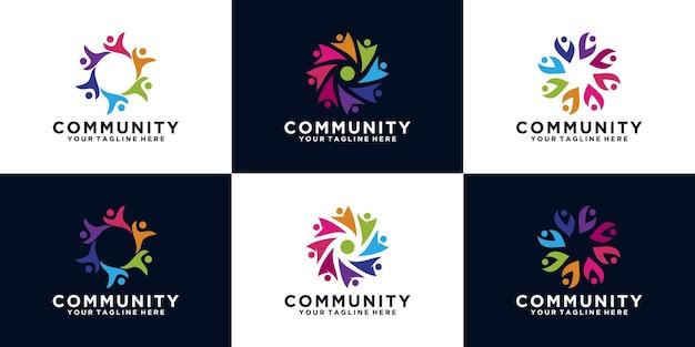 Colección de logotipo de grupos comunitarios de personas.