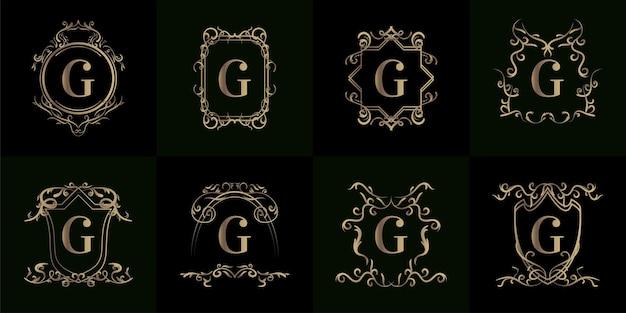 Colección de logotipo inicial con adorno de lujo o marco de flores