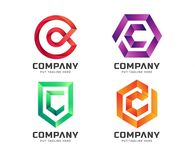 Colección de logotipo inicial colorida letra c