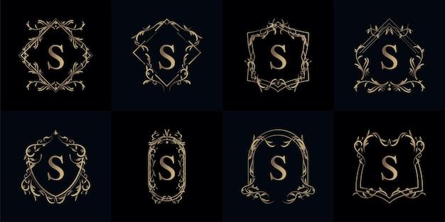 Colección de logotipo inicial s con adorno de lujo o marco de flores