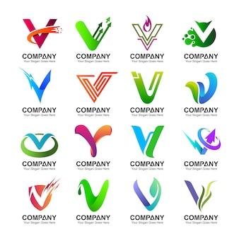 Colección del logotipo de la letra v en varias variaciones