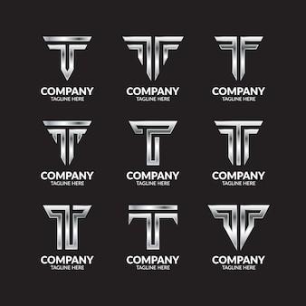 Colección de logotipo de lujo silver letter t