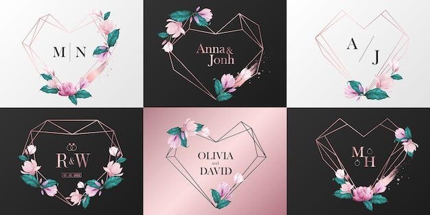 Colección de logotipo de monograma de boda. marco de corazón de oro rosa decorado con flores en estilo acuarela
