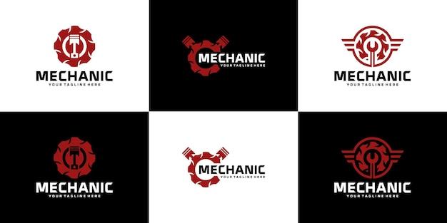 Colección, logotipo de reparación, taller de reparación de motocicletas y automóviles.