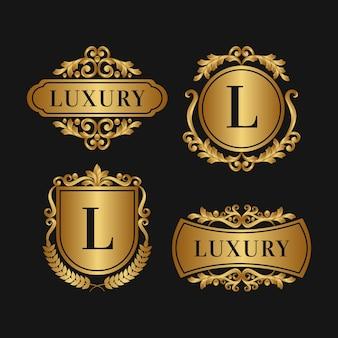 Colección de logotipo retro de lujo estilo dorado