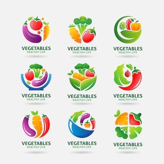 Colección de logotipo de verduras.