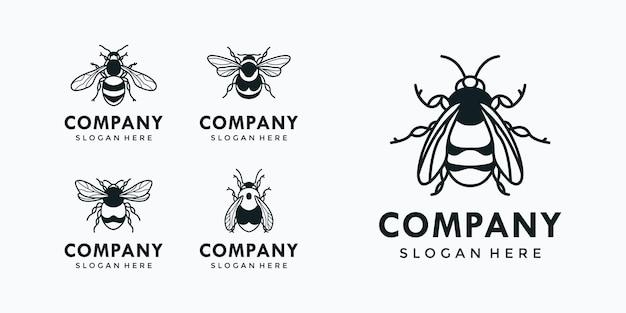 Colección de logotipos de abejas
