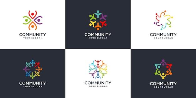 Colección de logotipos abstractos de comunidad creativa vector premium