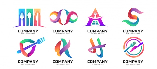 Colección de logotipos abstractos de paquete