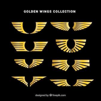 Colección de logotipos de alas doradas en diseño plano