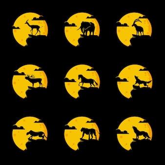 Colección de logotipos de animales, elefante, ciervo, lobo, caballo, león, cabra, leopardo, en el diseño del logotipo de la luna