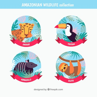 Colección de logotipos de animales salvajes de amazonas
