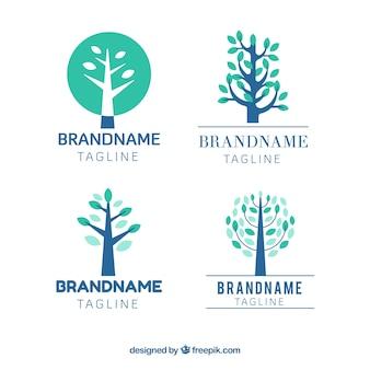 Colección de logotipos con árboles