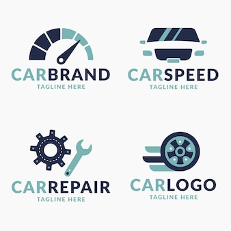 Colección de logotipos de automóviles de diseño plano