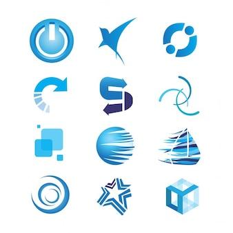 Colección de logotipos azules