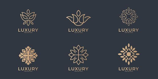 Colección de logotipos de belleza de arte de línea de lujo