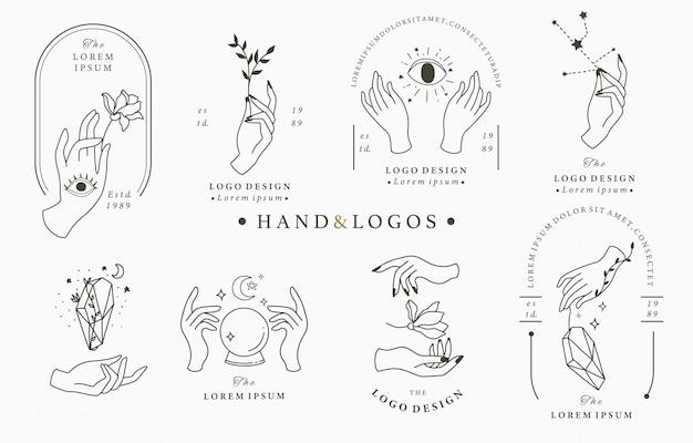 Colección de logotipos de belleza boho con mano