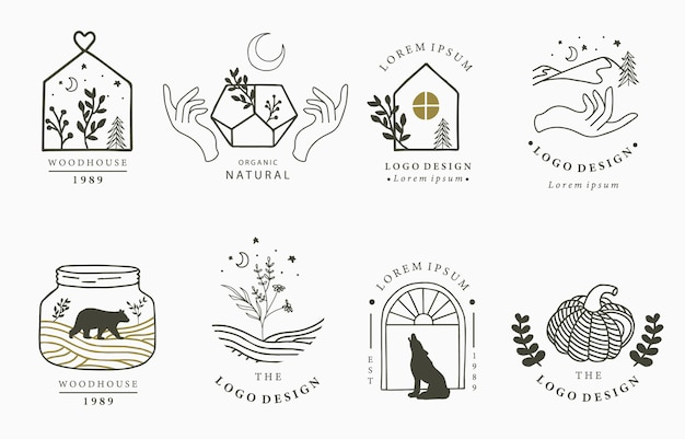 Colección de logotipos de belleza oculta con elementos mágicos