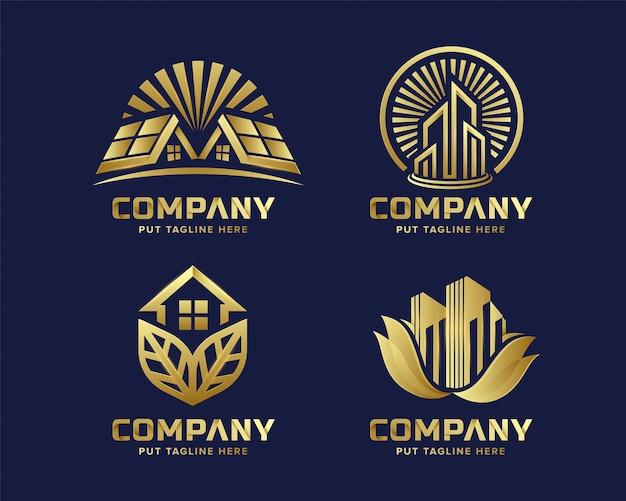 Colección de logotipos de bienes raíces de lujo premium