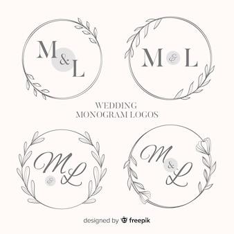 Colección de logotipos de boda monograma