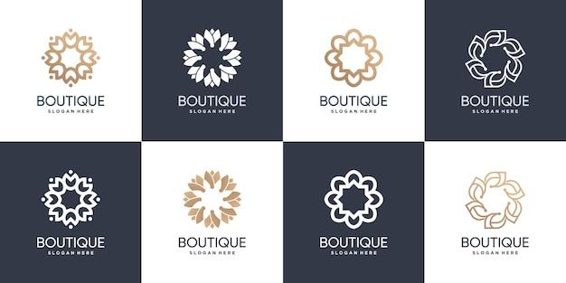 Colección de logotipos de boutique con concepto fresco y moderno vector premium