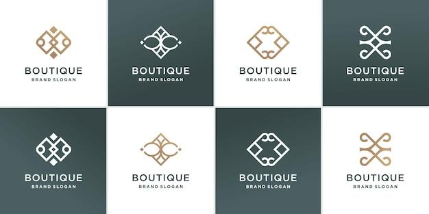 Colección de logotipos de boutique con concepto de línea de belleza vector premium