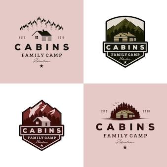 Colección de logotipos de cabañas vintage