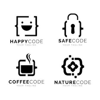 Colección de logotipos de código plano