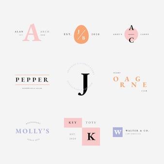 Colección de logotipos con colores pastel estilo minimalista