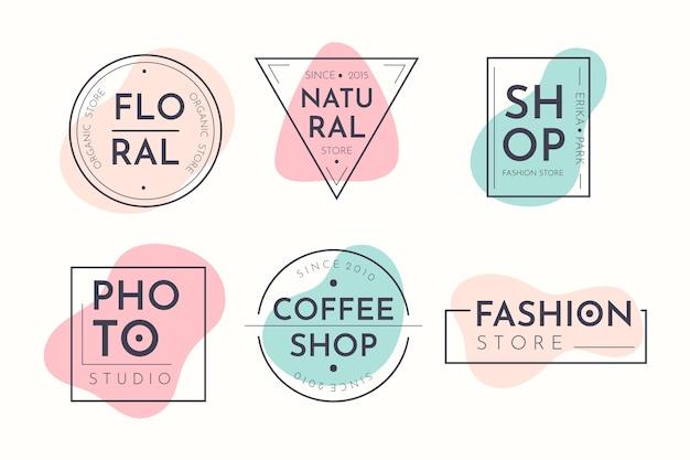 Colección de logotipos en colores pastel