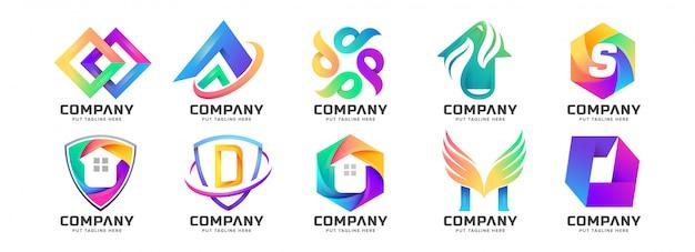 Colección de logotipos coloridos abstractos para empresa
