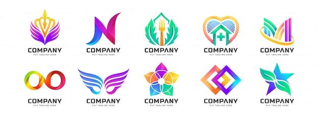Colección de logotipos coloridos abstractos