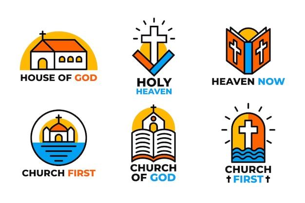 Colección de logotipos coloridos de iglesias