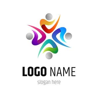 Colección de logotipos comunitarios de personas coloridas