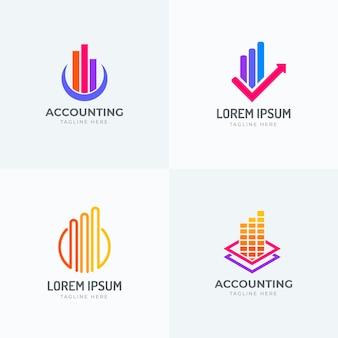 Colección de logotipos de contabilidad de diseño plano