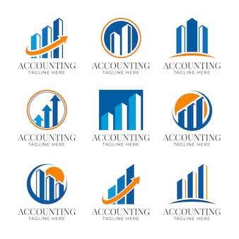 Colección de logotipos de contabilidad empresarial de diseño plano