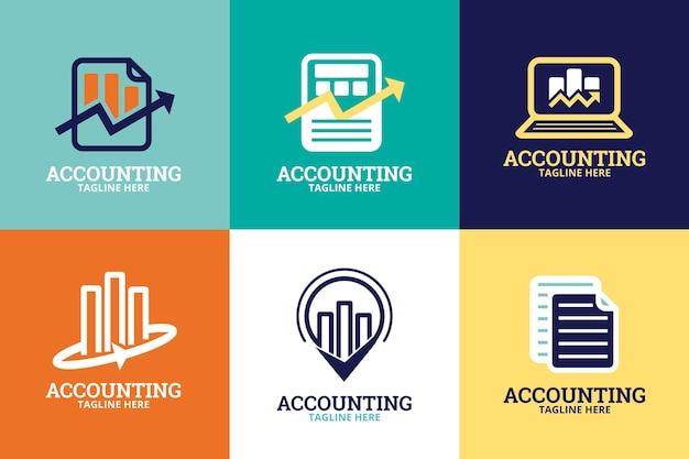 Colección de logotipos contables en diseño plano