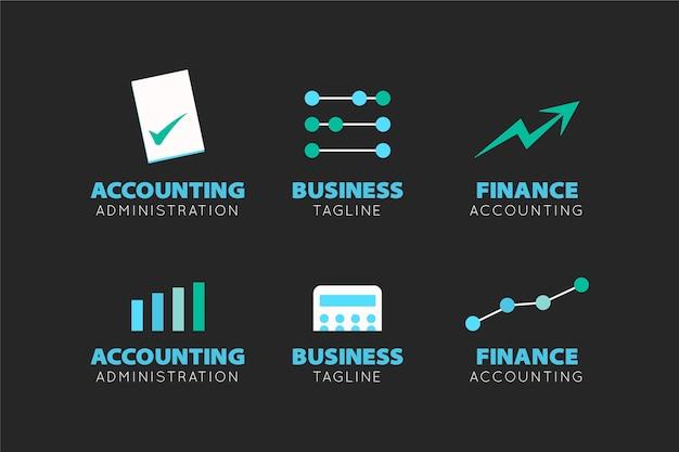 Colección de logotipos contables planos