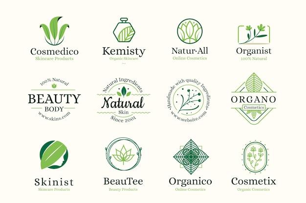 Colección de logotipos de cosméticos de la naturaleza