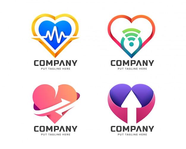 Colección de logotipos creativos de amor colorido