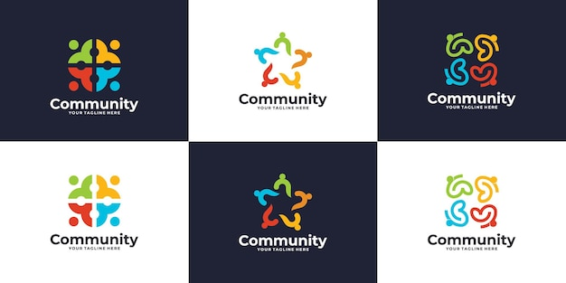 Colección de logotipos creativos y coloridos de grupos sociales