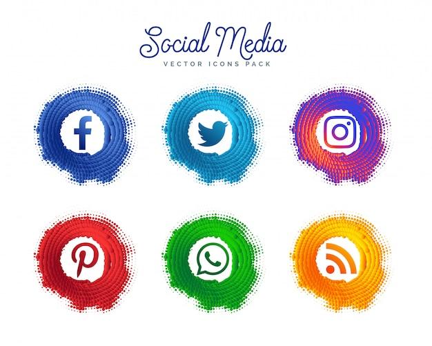 Colección de logotipos creativos de los medios sociales populares