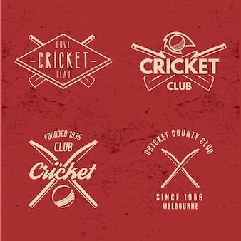 Colección de logotipos de cricket retro.