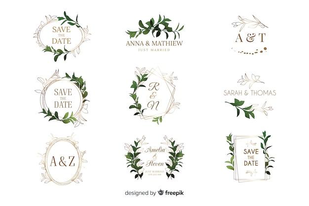 Colección de logotipos de cuadros de boda en acuarela
